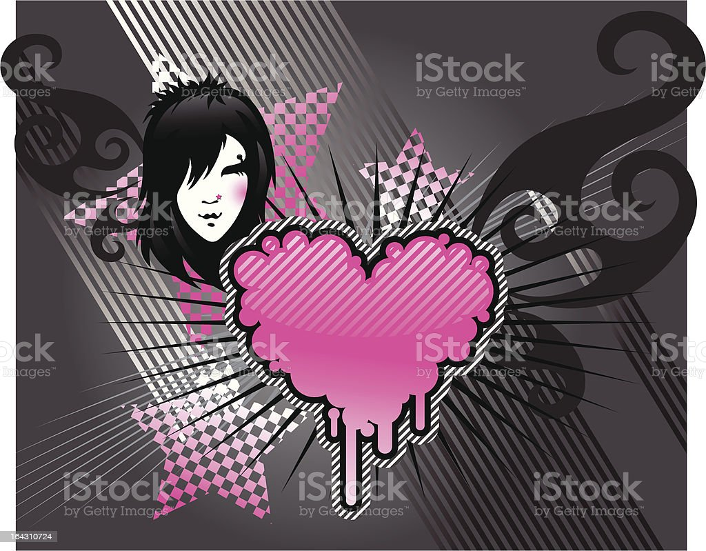 emo girl and heart vector art illustration