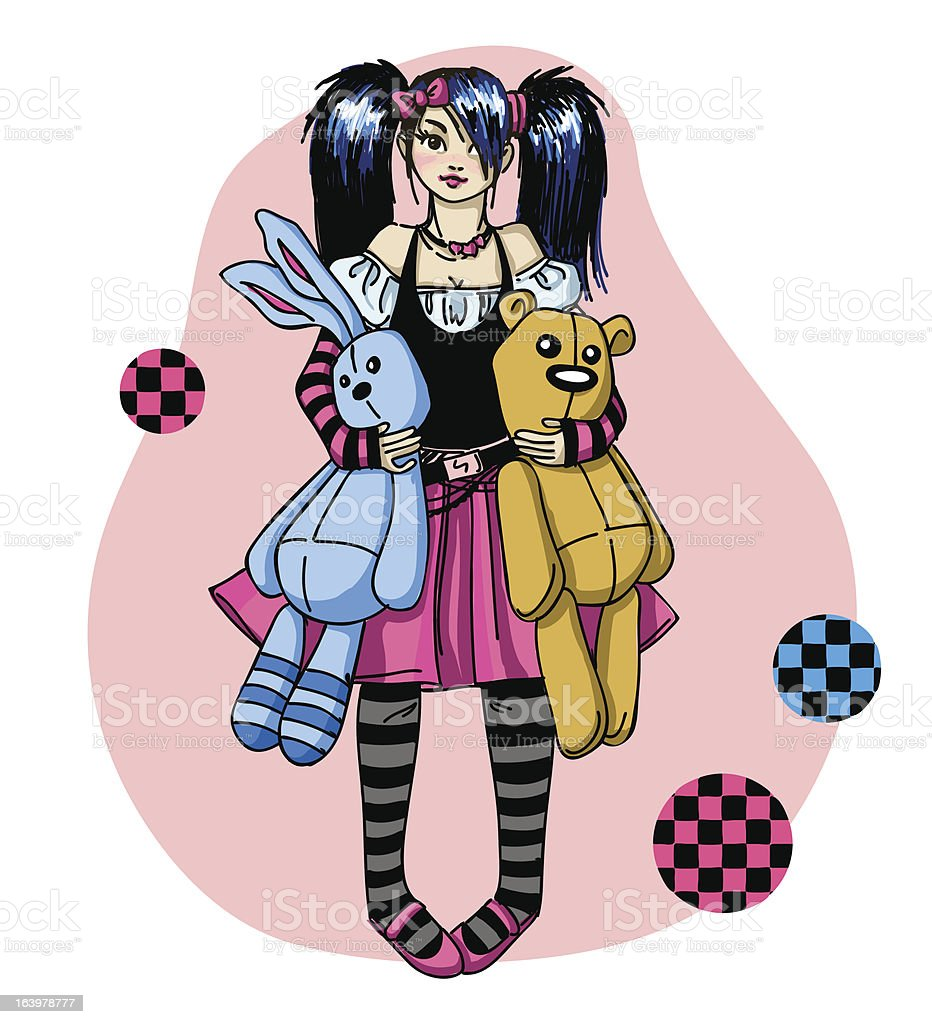 Emo girl with toys royalty-free stock vector art