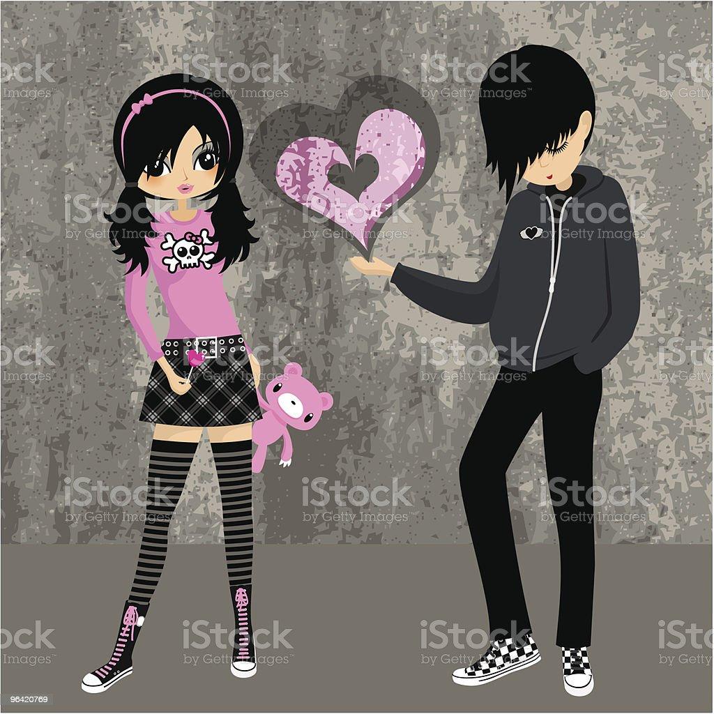 Emo love ♥ teenager girl lolita cosplay illustration vector vector art illustration