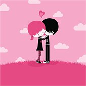 Emo love,together kawaii pink illustration vector