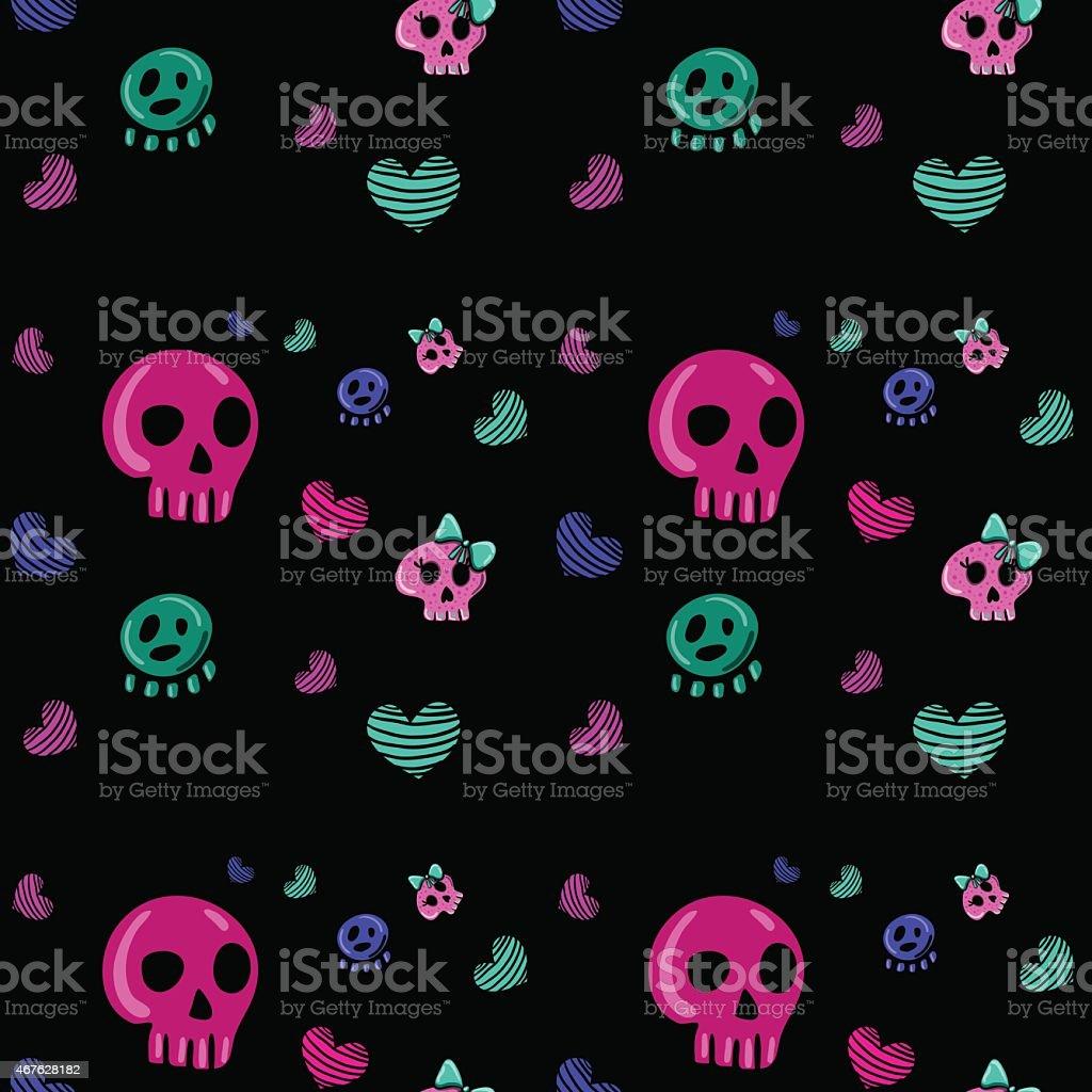 emo style seamless pattern vector art illustration