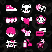 Emoicons love emo pink black set teens vector sticker