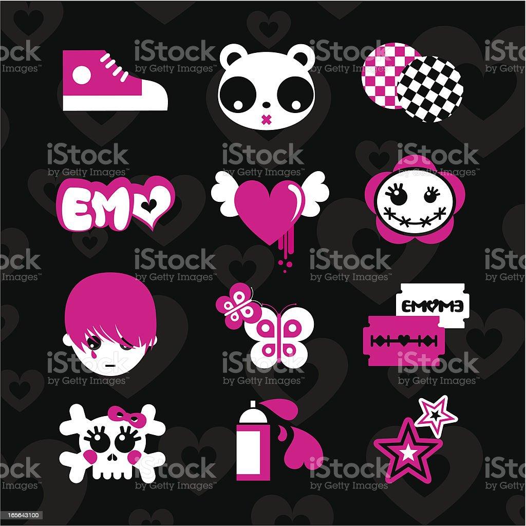 Emoicons love emo pink black set teens vector sticker vector art illustration