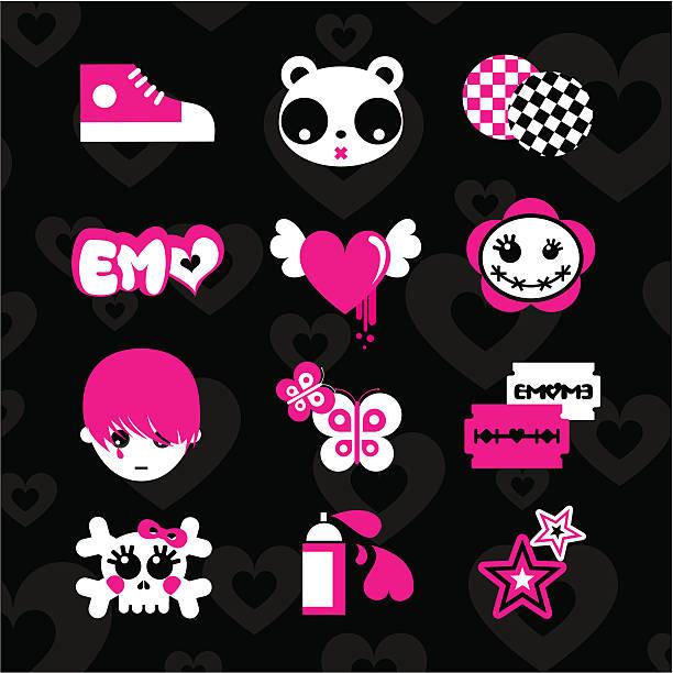 emoicons love エモホッコク黒 10 代のベクトルステッカーセット - 星のタトゥー点のイラスト素材/クリップアート素材/マンガ素材/アイコン素材