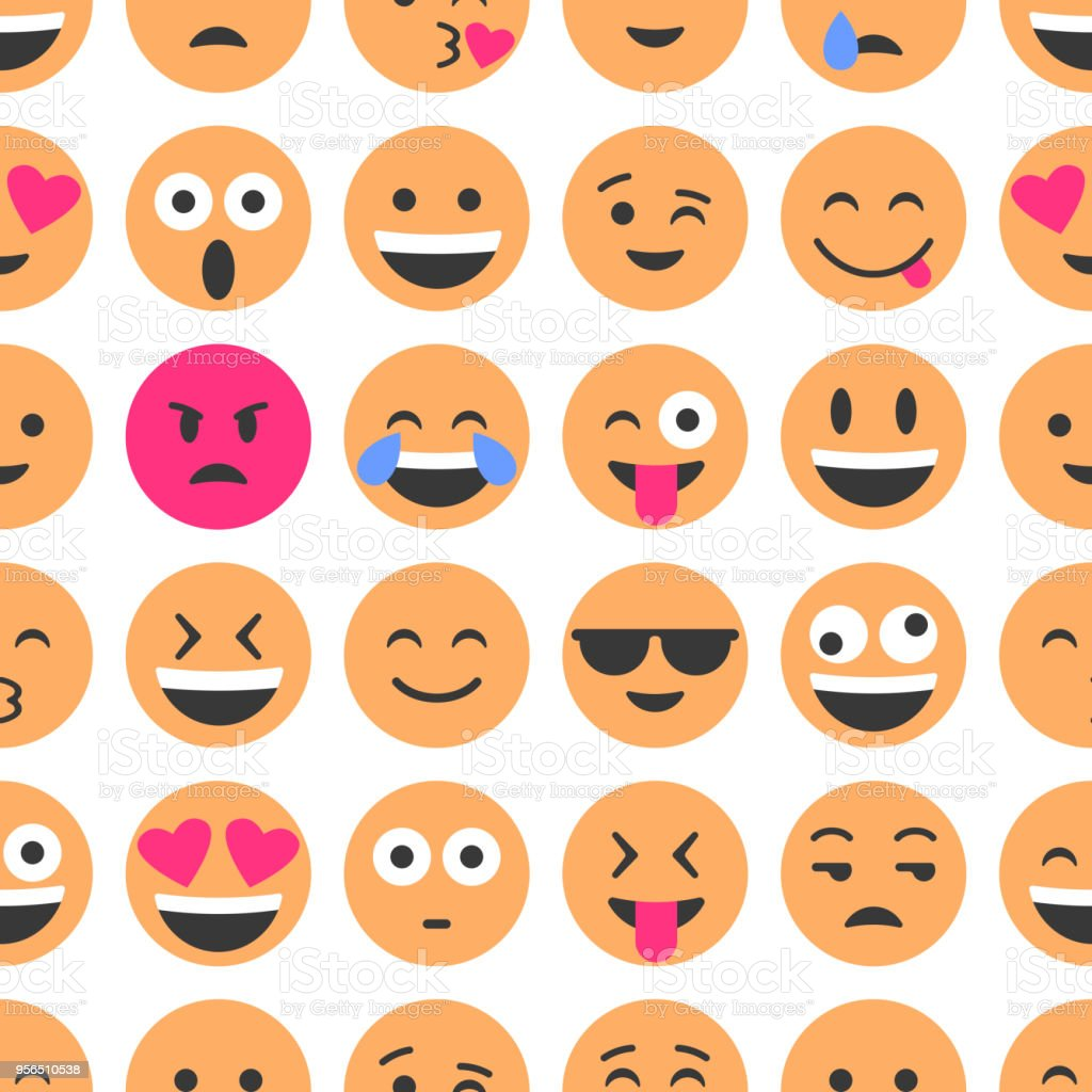 Emoji and emoticons. Smiles, flat icons. Set or collection of characters. Seamless pattern vector art illustration