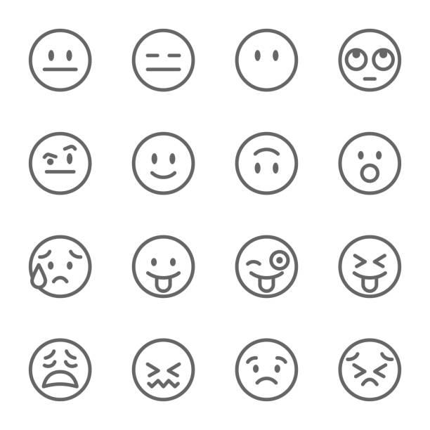 ilustraciones, imágenes clip art, dibujos animados e iconos de stock de cara de avatar emoji vector icono de línea conjunto. contiene iconos como cara guiñando un ojo con la lengua, la cara de confundido, perseverar de cara y más. movimiento ampliado - emoji confundido