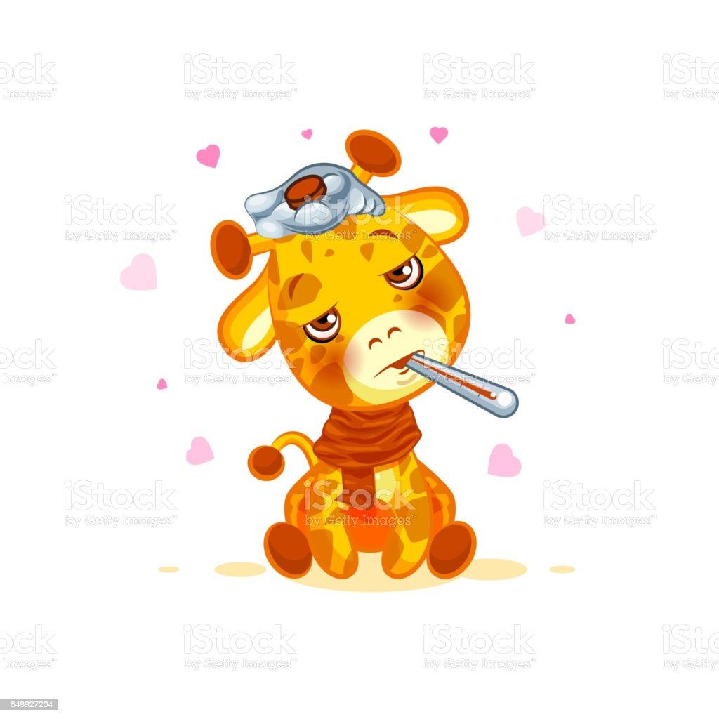 Emoji Karakter Cartoon Giraf Ziek Met Thermometer In Mond Sticker Emoticon Royalty Free