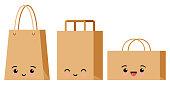 Emoji character packaging for goods set isolated on white background. Kawaii kraft brown cardboard supermarket, shop, restaurant, fast food package emoticon. Vector flat design pack icon illustration.