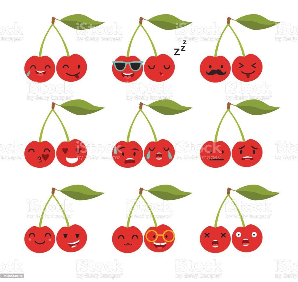 Emoji cerise vector dessin anim mignon fruits motic nes - Cerise dessin ...