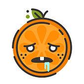 Emoji - crazy orange. Isolated vector