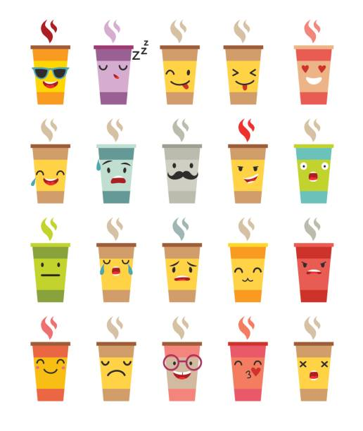 Emoji cup of coffee/tea vector set vector art illustration