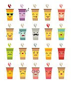 Emoji cup of coffee/tea vector set
