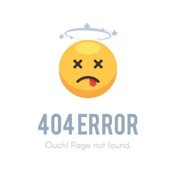 Emoji dead 404 error 404 error page not found. Emoji dead with dizziness. Vector illustration isolated on white background for site web design death stock illustrations