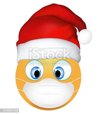 istock Emoji emoticon cute Santa Claus wearing medical mask. 3d illustration. Funny emoticon. Coronavirus outbreak protection concept. Merry Christmas. Three-dimensional. Isolated 1225057258