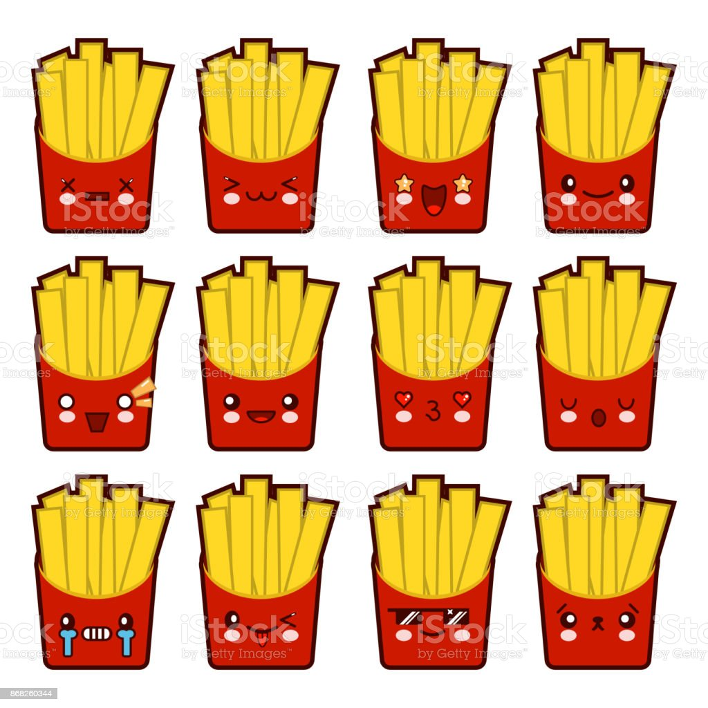 Emoji Emoticon French Fries With A Lot Of Variation Set Of Kawaii Face  French Fries Emoticons Isolated On White Background Flat Design Vector