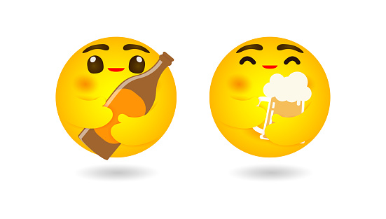 emoji emoticon hugging  beer of mug and beer bottle, emotion, Happy international beer day or friday party concept isolated on white background Vector illustration