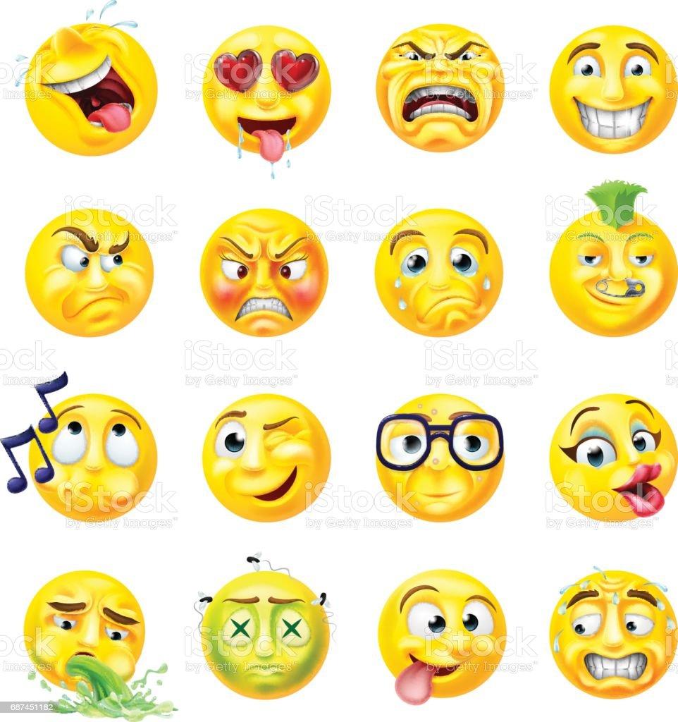 Conjunto de emoticonos Emoji - ilustración de arte vectorial