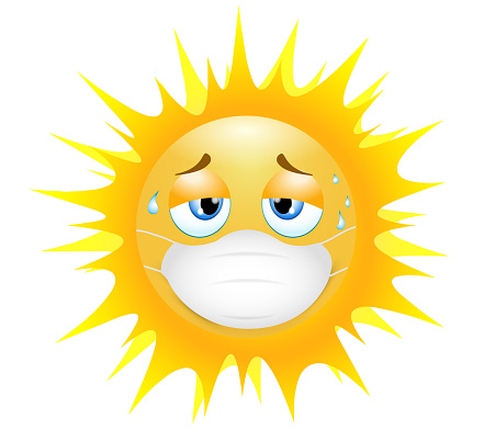 Emoji emoticon sun. Concept of tiredness in wearing the medical mask in the sultry heat. 3d illustration. Funny emoticon. Coronavirus outbreak protection concept.Three-dimensional. isolated