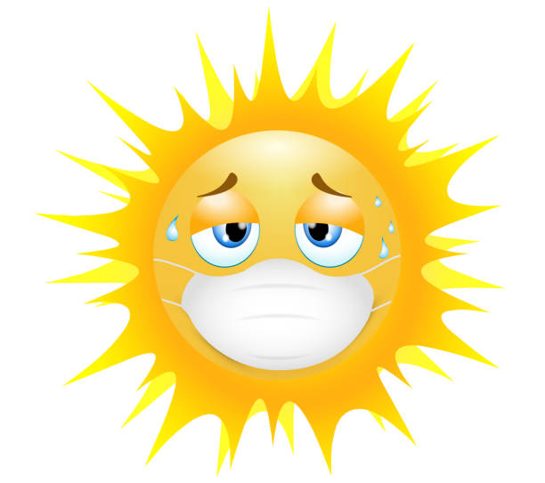 Emoji emoticon sun. Concept of tiredness in wearing the medical mask in the sultry heat. 3d illustration. Funny emoticon. Coronavirus outbreak protection concept.Three-dimensional. isolated Coronavirus protection concept. Emoji emoticon design for social media chat, web, infographics, apps. Coronavirus Emoji Character Symbol. COVID-19 Pandemic outbreak Virus Icon. Sad and depressed mood. Exhausted by the hot summer heat. corona sun stock illustrations