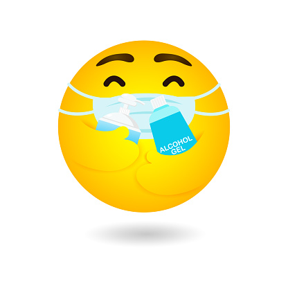 emoji emoticon wearing face mask hugging alcohol gel and Hand wash gel protect coronavirus 2019 nCoV or covid-19, Yellow cartoon emotion, new normal lifestyle health Care white background