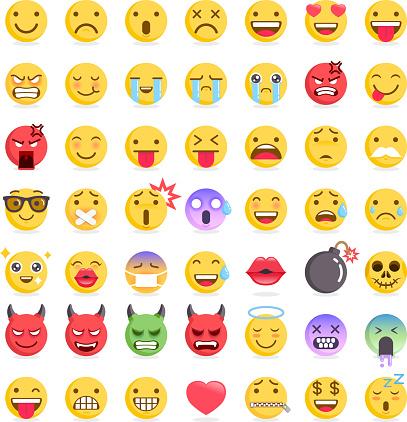 Emoji emoticons symbols icons set.