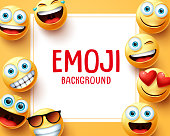 Emoji emoticons vector background template. Emoji background text in white space with group of smiley emojis face elements in yellow background. Vector illustration.