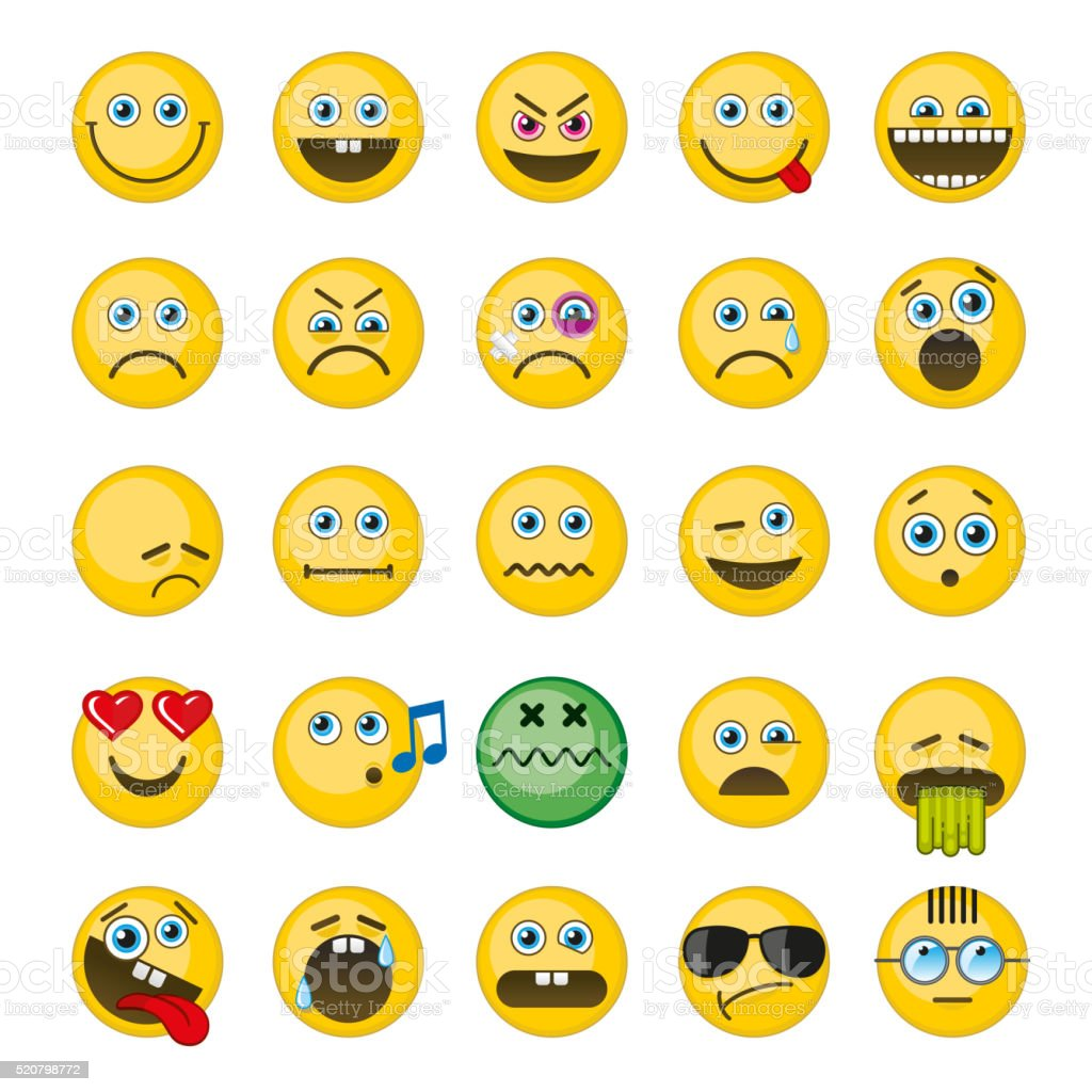 Emoji, emoticons vector icons set vector art illustration