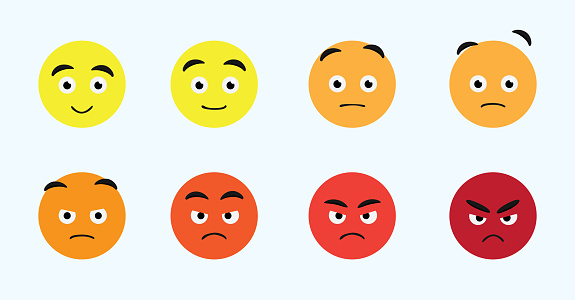 Emoji Face Changes Animation Angry Cartoon Character Vector Illustration