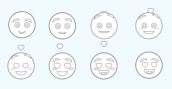 Emoji Face Changes Animation Love Cartoon Character Vector Illustration Black and White