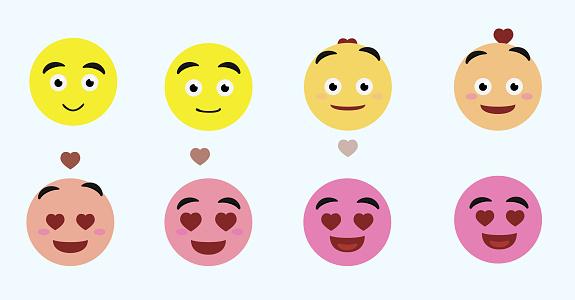Emoji Face Changes Animation Love Cartoon Character Vector Illustration