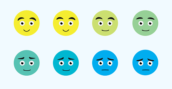 Emoji Face Changes Animation Sad Cartoon Character Vector Illustration