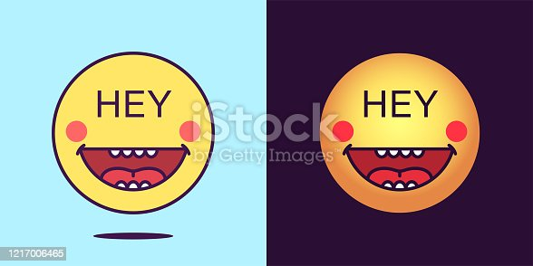 Emoji face icon with phrase Hey. Cheerful emoticon with text Hey. Set of cartoon faces, emotion icon for social media communication, greeting sticker and sign for print. Vector illustration