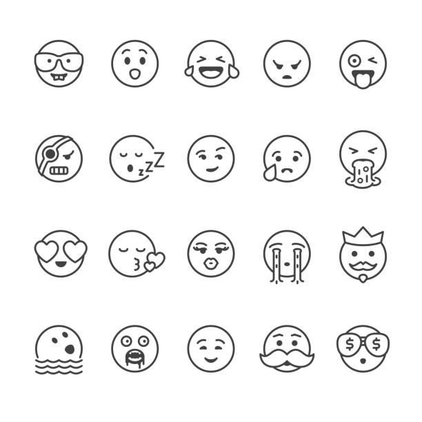 ilustrações, clipart, desenhos animados e ícones de rosto vetor ícones de mensagem - emoji de lágrimas de alegria
