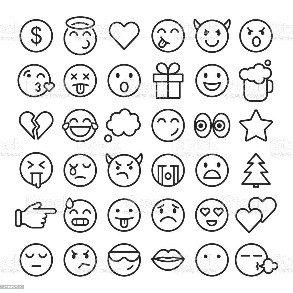 Emoji Faces Simple Icons Thin Line Symbols Stock Vector Art & More ...