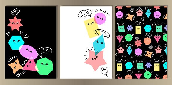 Emoji from geometric figures fun cover set