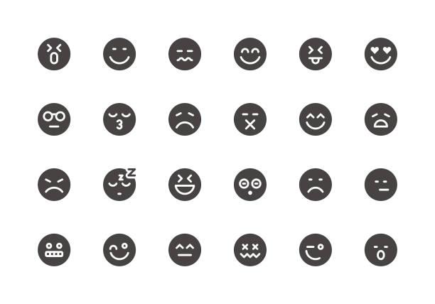 illustrations, cliparts, dessins animés et icônes de emoji - icônes de glyphe - emoji paresseux