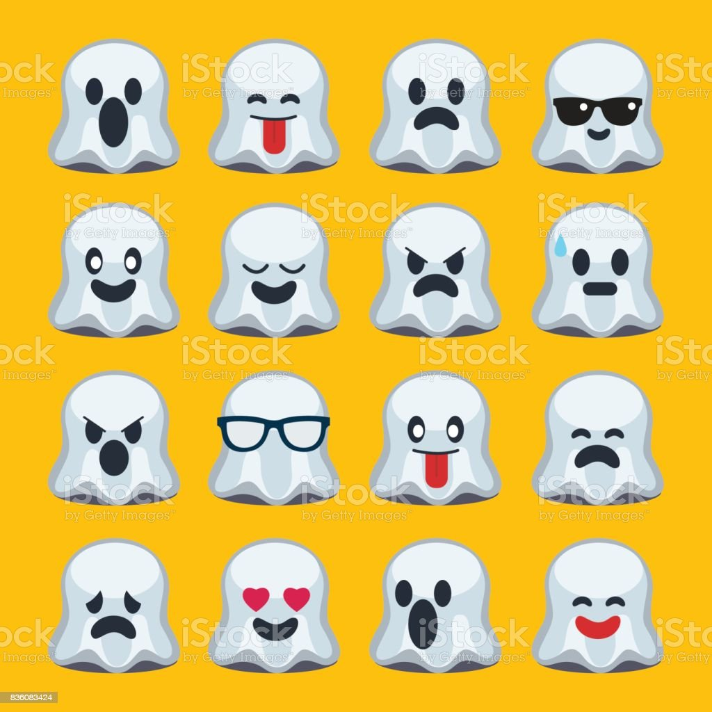 emoji, halloween, ghost vector art illustration