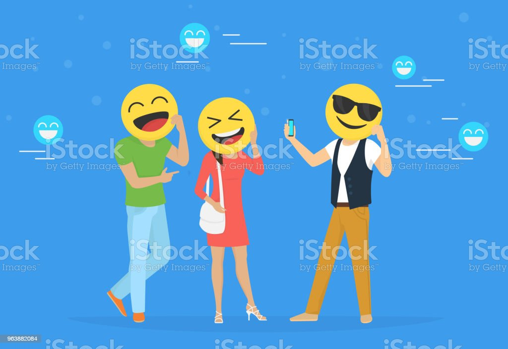 Emoji heads concept vector illustration happy men and women hold emoji heads - Royalty-free 20-29 Years stock vector