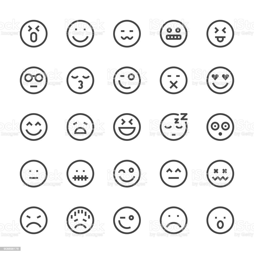Emoji Icon Icons - MediumX Line vector art illustration