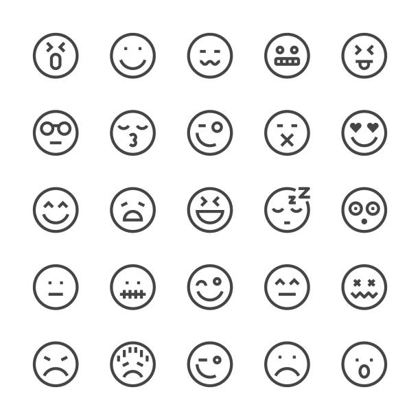 stockillustraties, clipart, cartoons en iconen met emoji pictogram pictogrammen - mediumx lijn - smile