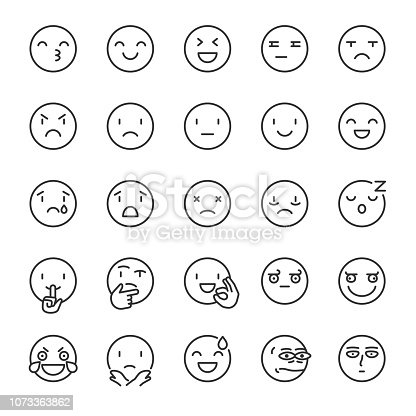Emoji, icon set. Smile. Includes positive, negative emotions and such as refusal, silence, thinking etc. editable stroke
