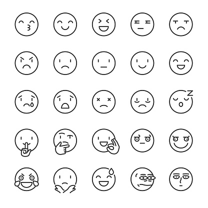 Emoji, icon set. Smile, linear icons. Includes positive, negative emotions and such as refusal, silence, thinking etc. Line with editable stroke clipart