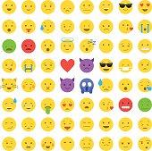 Set of cute smiley emoticons, emoji flat design isolated on white background, vector illustration