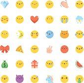 Emoji icon vector set. Flat cute korean style isolated emoticons