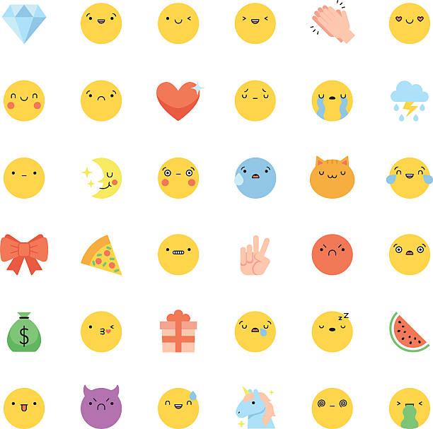 emoji icon vector set. flat cute korean style isolated emoticons - 恐れの絵文字点のイラスト素材/クリップアート素材/マンガ素材/アイコン素材