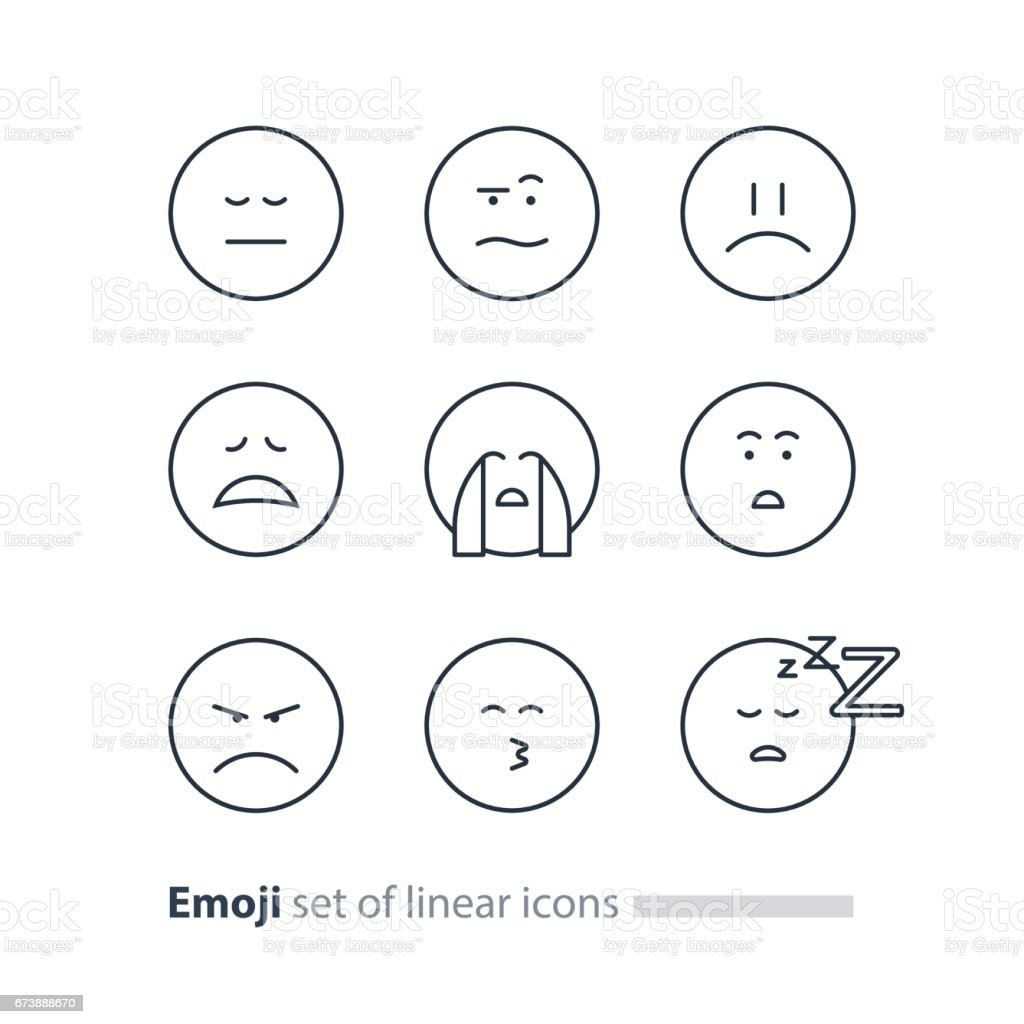 Emoji Icons Emoticon Symbols Face Expression Signs Minimalistic