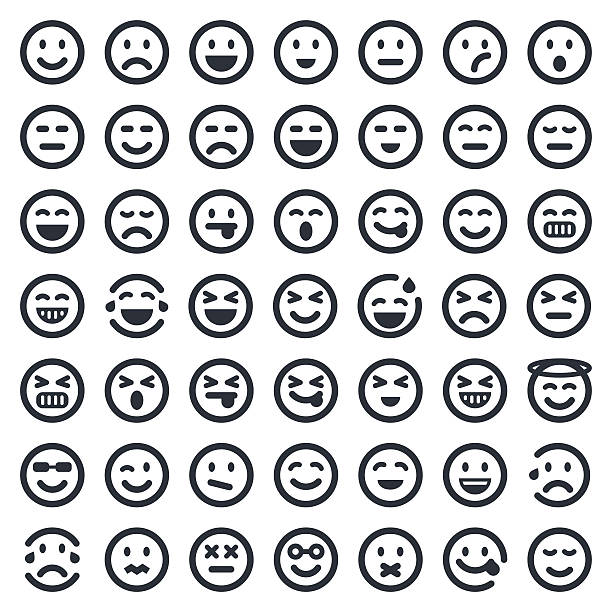 Emoji icons set 1 | 49ers Series Professional set of 49 black and white pixel perfect icons ready to be used in any kind of design project. EPS 10 file. blinking stock illustrations