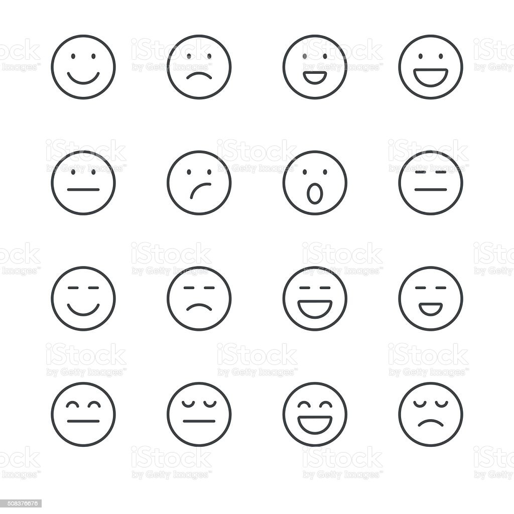Emoji Icons set 1 | Black Line series vector art illustration