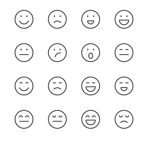ilustraciones, imágenes clip art, dibujos animados e iconos de stock de emoji iconos conjunto 1/negro, serie de la línea - emoji perezoso