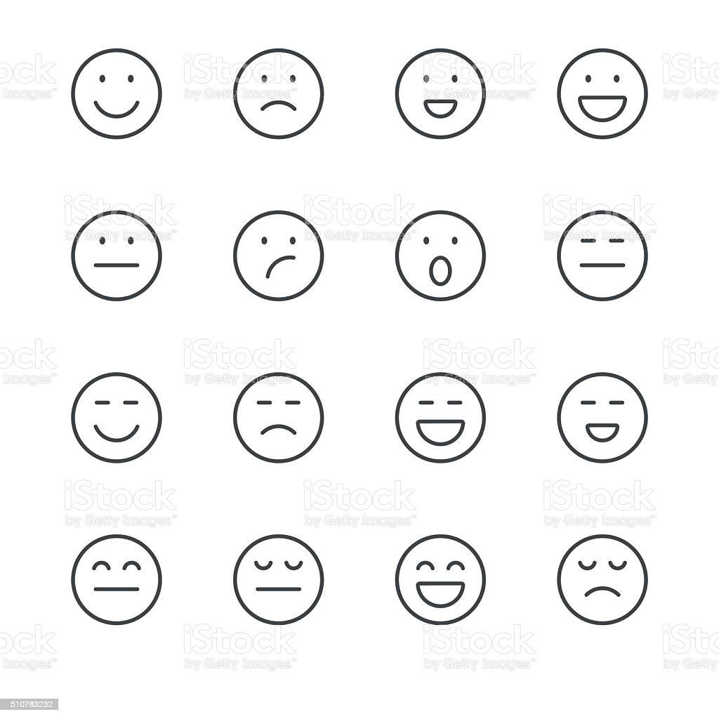 Emoji Iconos conjunto 1/negro, serie de la línea - ilustración de arte vectorial